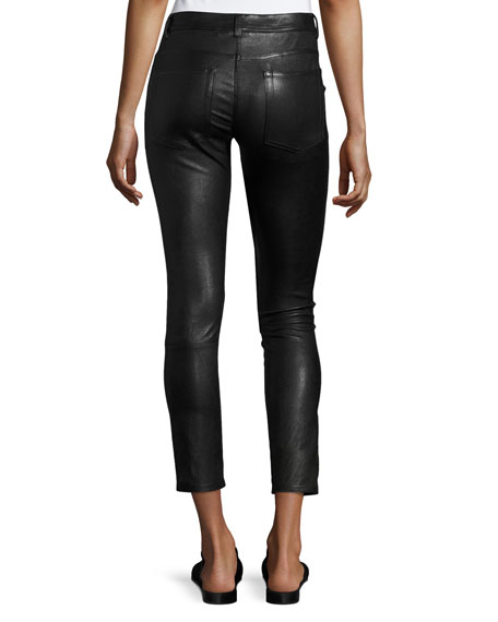 Skinny Zip-Cuff Leather Leggings, Black