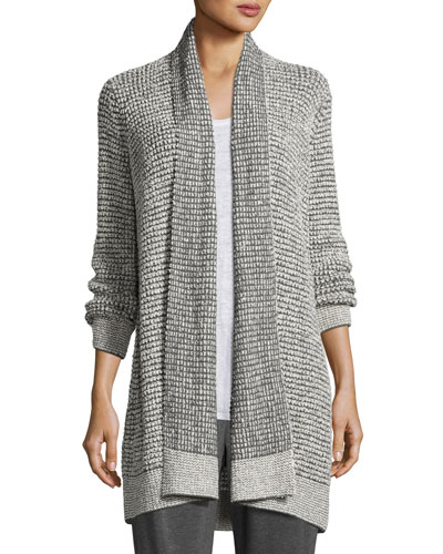 Organic Peruvian Cotton Boucle Cardigan, Ash-Soft/White
