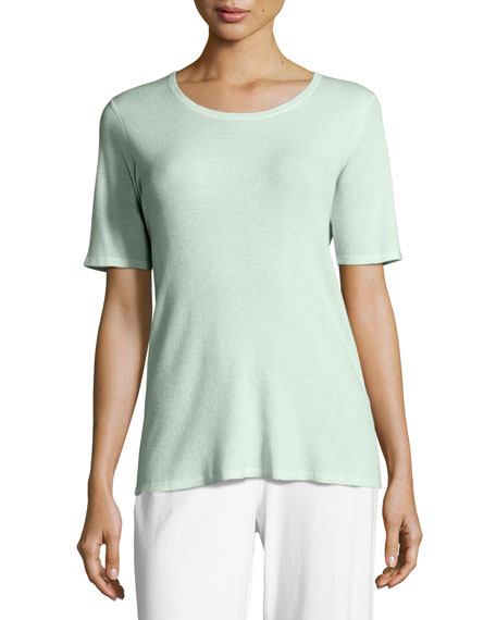 Eileen Fisher Merino Ribbed Scoop-Neck Top, Aurora