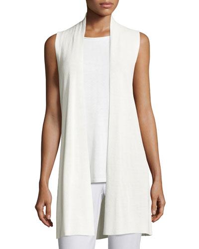 Long Ribbed-Knit Vest, White