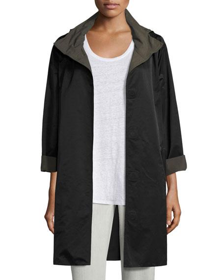 Eileen Fisher Reversible Nylon Sheen Coat, Black/Surplus, Plus