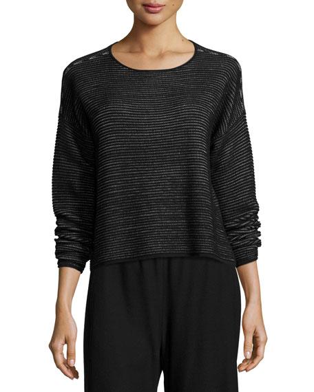 Eileen Fisher Ottoman-Stitched Box Top, Black, Petite