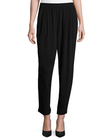 Eileen Fisher Crinkle Crepe Slouchy Ankle Pants, Petite