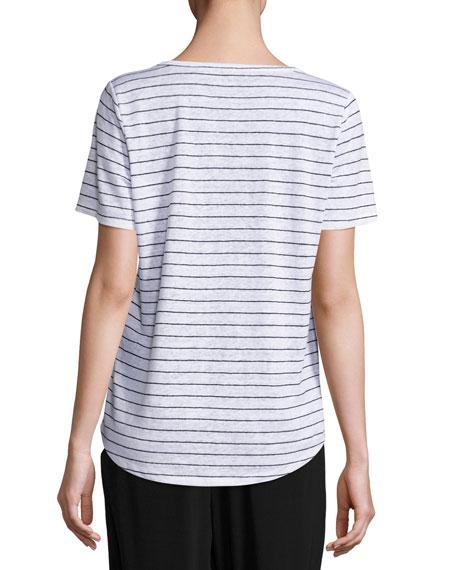 Organic Linen Striped Tee, White/Black
