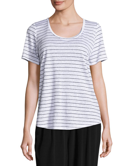 Eileen Fisher Organic Linen Striped Tee & Tencel®