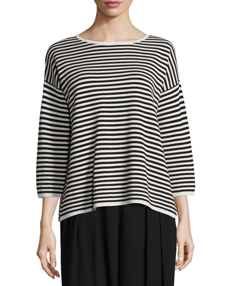Eileen Fisher Striped 3/4-Sleeve Interlock Top, Bone/Black