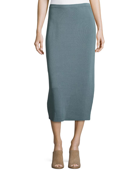 Washable Silk/Cotton Midi Pencil Skirt, Blue Steel