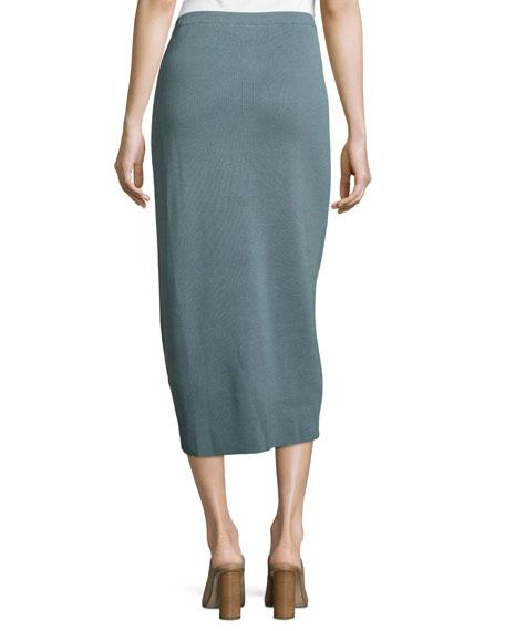 Washable Silk/Cotton Midi Pencil Skirt, Blue Steel, Petite
