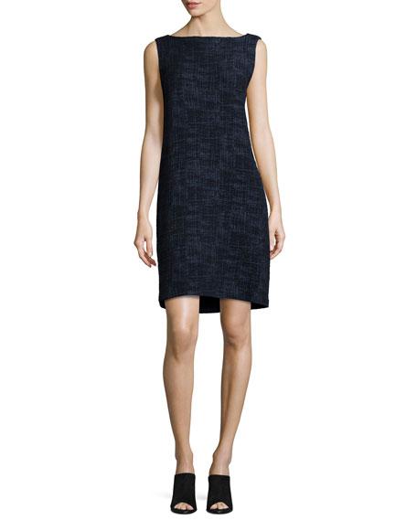 Eileen Fisher Sleeveless Crosshatch Shift Dress, Midnight
