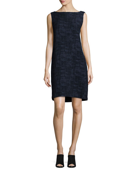 Eileen Fisher Sleeveless Crosshatch Shift Dress, Midnight, Plus