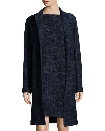 Long Crosshatch Topper Jacket, Midnight