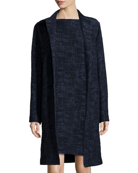Eileen Fisher Long Crosshatch Topper Jacket, Midnight, Plus