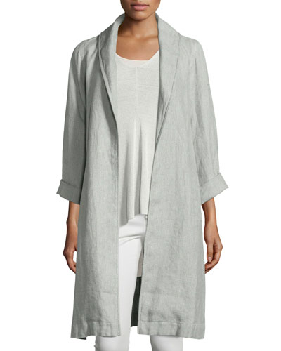 Journey Long D?lav? Linen Topper Jacket, Dark Pearl