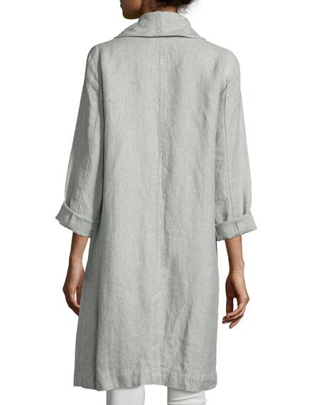 Journey Long Délavé Linen Topper Jacket, Dark Pearl, Plus Size