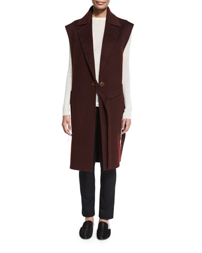 Long Double-Face Wool Vest, Mahogany