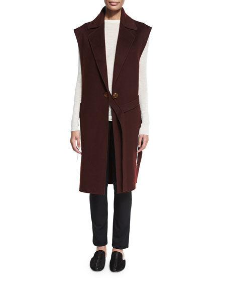 Long Double-Face Wool Vest, Mahogany Reviews