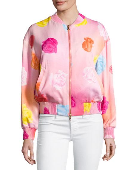 Fantasy Floral-Print Bomber Jacket, Pink