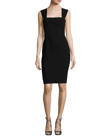 Boutique Moschino Sleeveless Bow Tie-Back Sheath Dress, Black