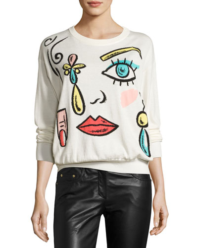 Fantasy-Print Crewneck Sweater, White