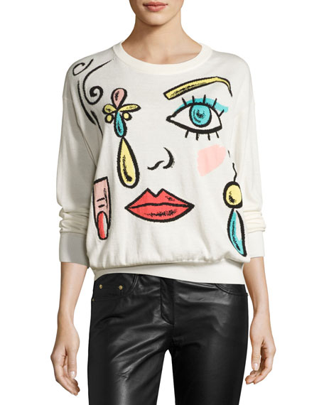 Boutique Moschino Fantasy-Print Crewneck Sweater, White