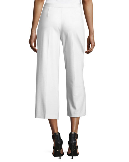 Wide-Leg Cropped Stretch Trousers, White