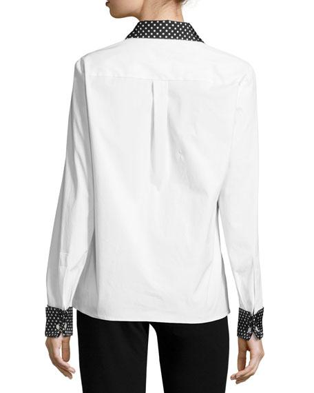 Dot-Trim Poplin Shirt