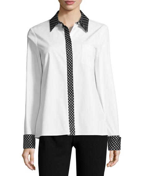 Michael Kors Dot-Trim Poplin Shirt