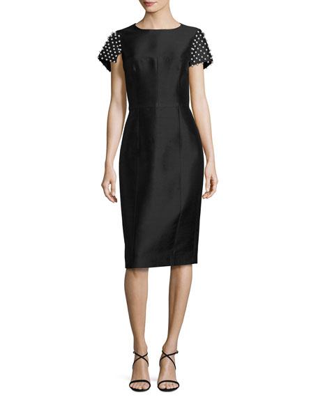 Silk Shantung Dress with Pearl Sleeves