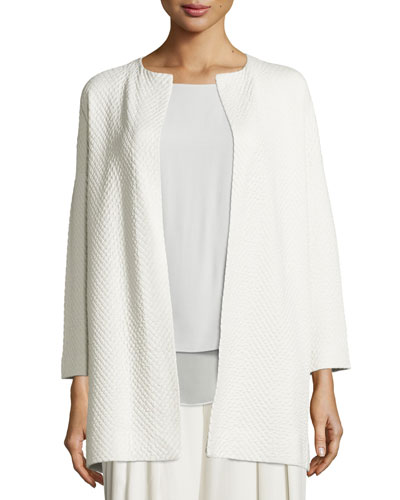 Long Jacquard Topper Jacket, Bone
