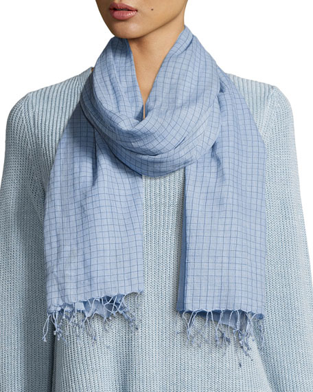 Hand-Loomed Organic Cotton Checkerboard Scarf, Morning Glory