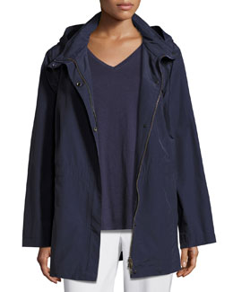 Nylon Jacket with Hood, Midnight, Petite