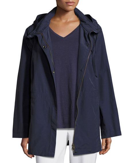 Eileen Fisher Nylon Jacket with Hood, Midnight, Plus