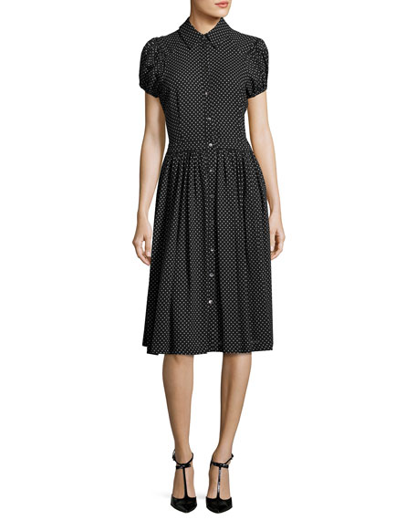 Polka-Dot Georgette Shirtdress