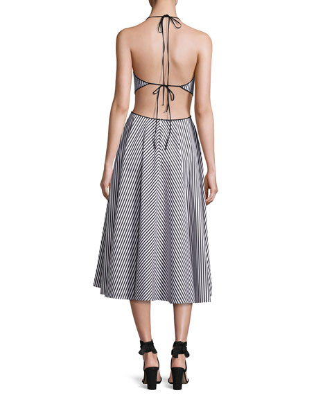 Striped Cutout Halter Tea-Length Dress