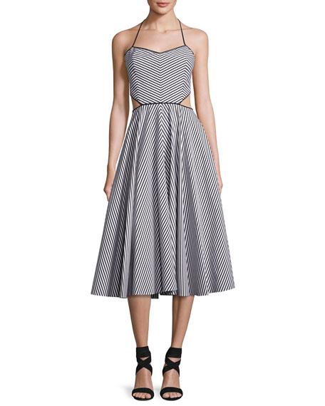 Michael Kors Striped Cutout Halter Tea-Length Dress