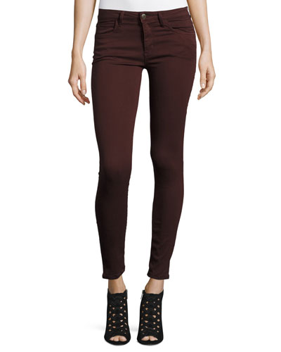 The Icon Ankle Skinny Jeans, Dark Wine