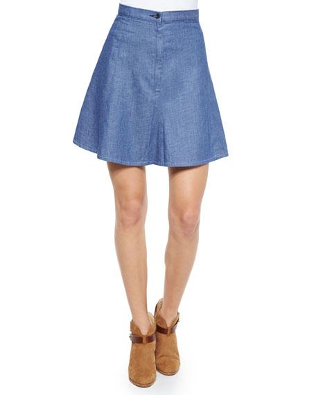 rag & bone/JEAN Suki Denim A-Line Skirt, Rinse