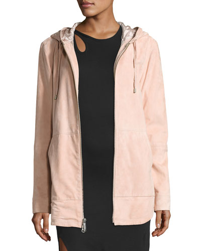 Rin Hooded Suede Jacket, Pink
