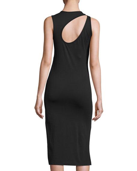 Caia Sleeveless Cutout Jersey Dress, Black