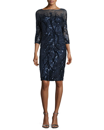 3/4-Sleeve Embellished Sheath Dress, Navy