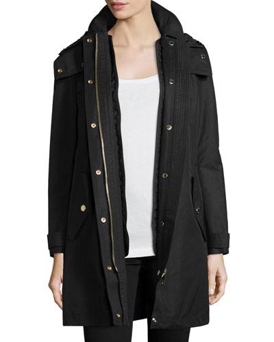 Harlington Zip-Front Hooded Parka Jacket, Black