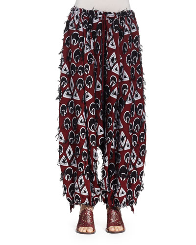 Frayed Jacquard Harem Pants, Burgundy/Navy