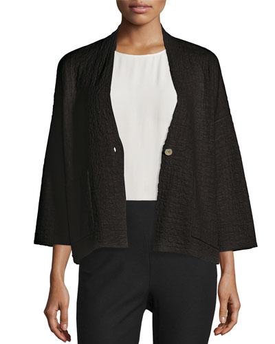 3/4-Sleeve Grid Kimono Jacket, Black