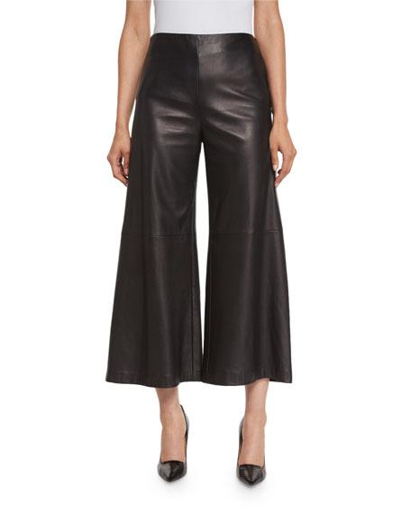 Adam Lippes Plonge-Leather Wide-Leg Culottes, Black