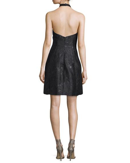 Metallic Jacquard Halter Dress, Black