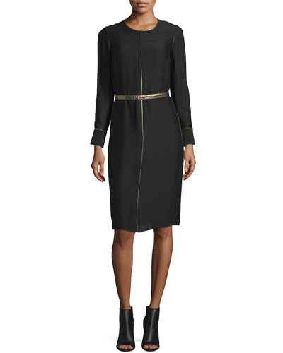 Annabelle Long-Sleeve Belted Dress, Black