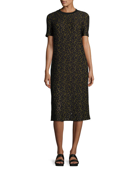 Public School Ray Short-Sleeve Lace Midi Dress, Black/Yellow
