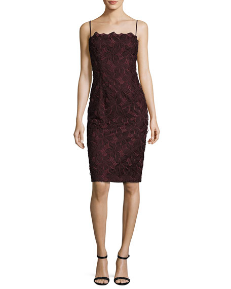 Black Halo Sleeveless Geometric Lace Sheath Dress, Metamorphosis