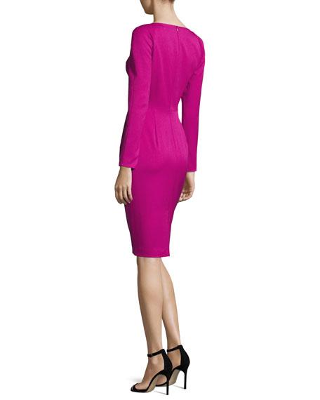 Long-Sleeve Strappy V-Neck Sheath Dress, Wild Astor