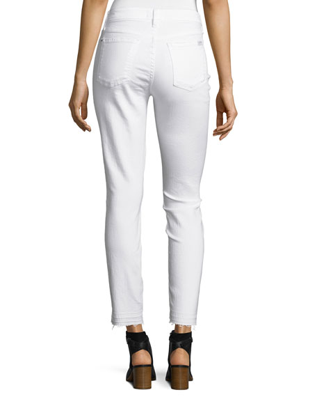 Skinny Ankle Jeans w/ Released Hem, White